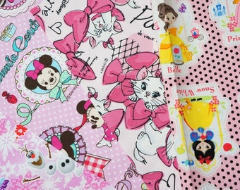 Disney Fabric Scrap Marie Disney Princess Anna Elsa Minnie Mouse 2015Bd