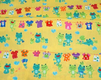 Japanese fabric Frog family 50 cm by 53 cm or 19.6 by 21 inches nc13