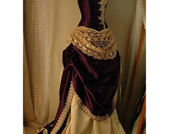 Juliet - Custom made Cadbury Purple Bridal Gown with steel boned corset