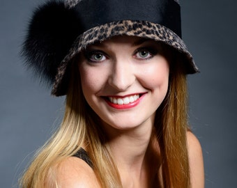 Black and greyish brown cheetah print velour felt cloche hat- ON SALE - 30%
