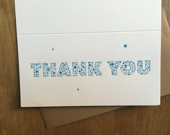 Thank you card letterpress with stars