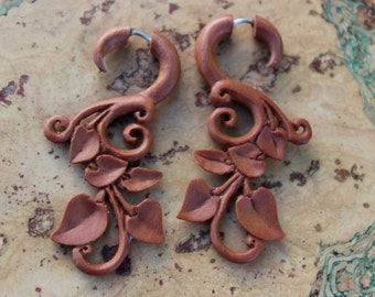 Fake gauge earrings ,Wood, Organic, Tribal Expander ,Split ,tribal style,hand made,fake piercings