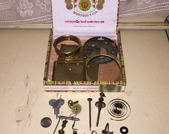 Lot of Vintage Clock Parts and Cigar Box