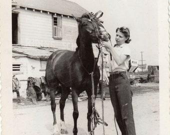 Original Vintage Photograph Snapshot Woman Bridle Bridling Horse 1940s-50s