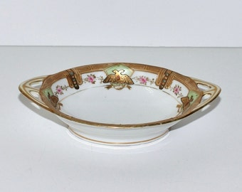Antique Hand Painted & Gold Gilded Porcelain Bowl with Handles