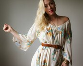 1970s Autumn Angel Dress~Size Small to Large