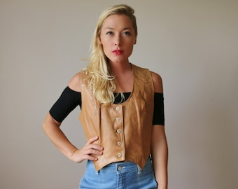 1970s Caramel Leather Vest >>> Small