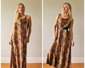 ON SALE 1990s Animal Print Maxi~Size Small to Medium
