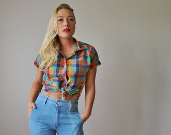 ON SALE 1970s Primary Plaid Shirt >>> Extra Small to Small
