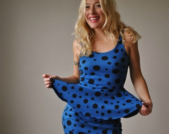 1980s Dot & Peplum Dress~Size Extra Small to Small
