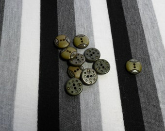 Round olive button with two holes.  1 button.