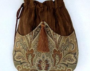 Brown Medallion Bag Tapestry Bag   Brown Bag With Tassel  Renaissance Bag