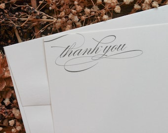 Wedding Thank You Card Set of 20, Thank You Card Boxed Set, Thank You Card Set, Simple Thank You Card, Flat Thank You Card Set