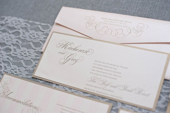 Champagne and Blush Pink Wedding Invitation, Formal Wedding Invitation, Lavish Wedding Invite, Pocket Wedding Invitation,Mackenzie and Greg
