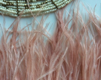 PASTEL VOGUE OSTRICH Fringe Dark Blush, Light Maple  / P - 20