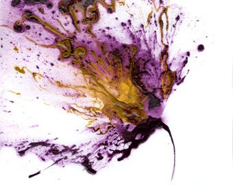 Flower Art, Purple Painting, Abstract Flowers, Small Wall Art