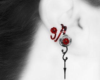 Crystal Steampunk Ear cuff w/ Red Swarovski Crystals, No Piercing Needed, Crystal Cuff, Cartilage Earring, Steampunk Jewelry, Psykhe III v3