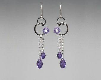 Tanzanite Swarovski Crystal Earrings, Tanzanite Swarovski, Industrial Earrings, Purple Crystal, Statement Earrings, Oort Cloud II v14