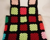 CROCHET  VEST Handcrafted Brilliant colors red blue green  black Wool never worn app 24 X 19in