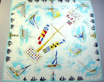 SAILBOATS Scarf 1940s -50s Rayon  color flags nautical 28 x 27 inches great condition