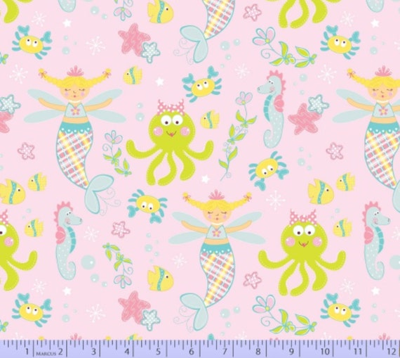 Fabric magical mermaid under the sea by marcus 1 2 yard for Children of the sea fabric