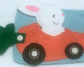 quiet book page - Bunny finger puppet carrot car snap - busy book -  Felt game - Activity play set #QB34