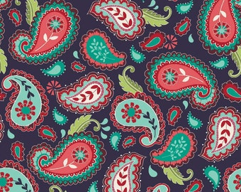 SALE ~ La Vie Boheme ~ Navy Paisley Print ~ Gypsy inspired fabric by The Quilted Fish for Riley Blake ~ 100% woven cotton by the yard