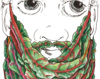 Swiss Chard Beard Gift for Him Mustache Print Eat Your Greens Beard Decor Unique Vegetable Art Leafy Greens Gift for Vegan Southern Greens