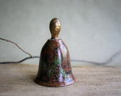Vintage Cloisonne Bell in Lovely Autumn Colors with Glass Bead Ringer Enamel and Brass Floral and Leaf Design