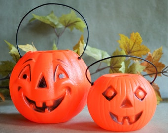 2 Vintage Plastic Jack O Lantern Blow Molds with Handles, Retro Halloween Trick or Treating Container Pail