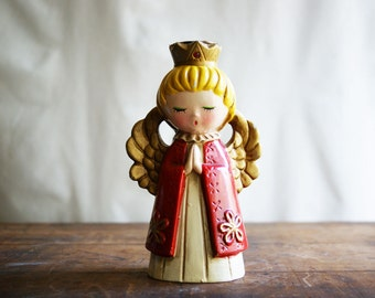 Vintage Christmas Angel Candle Holder by Ardco, Holiday Decorating, Christmas Decor, Mid Century, Praying Girl, Red and Gold
