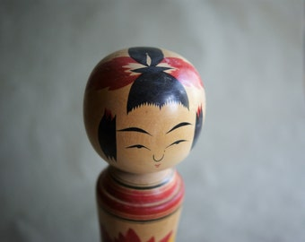 "Vintage Japanese Kokeshi Doll | Mid Century Modern Decor | Blonde Wood | Red Bow | 8"" Wooden Doll"