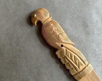 Vintage Letter Opener Carved Wooden Bird, Eagle or Parrot