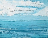 Ocean oil painting: Clear Blue Waters, abstract beach painting, original oil painting