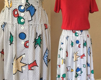 New Wave Skirt, 80's  vintage , white cotton, geometric skirt, size small
