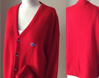 Red Boyfriend Sweater, Vintage 80's IZOD,Men's Letterman Sweater, XL Men's