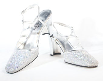 VTG 90's Silver Sparkles Chunky Party Heels size 7 1/2 Womens High Heels Asymmetrical Pumps Disco Glitter Ankle Strap