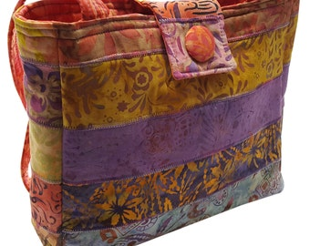 Medium Purse in Pink, Lavender and Orange Batik