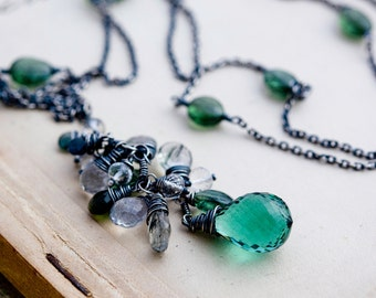 Gemstone Necklace, Cluster Necklace, Gemstone Necklace, Gemstone Cluster, Pine Tree Necklace, Sterling Silver, Green, PoleStar