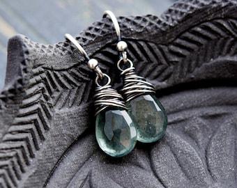 Moss Aquamarine, Aquamarine Earrings, March Birthstone, Birthstone Jewelry, Aquamarine Jewelry, Drop Earrings, Sterling Silver