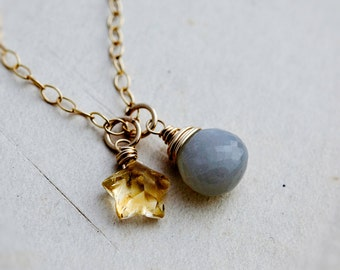Moon Necklace, Star Necklace, Night Sky, Moon and Stars, Gold Necklace, Gray Moonstone, Moonstone Necklace, Citrine Necklace, Citrine Star