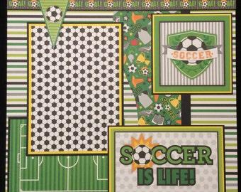 Soccer Premade Scrapbook Page, 12x12 Single Scrapbook Layout, Soccer Layout, Soccer Album Page, Soccer Scrapbook Album Layout