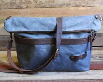 Messenger Bag, Waxed Canvas Messenger bag, Tote Bag, Canvas Tote Bag, Canvas Messenger Bag, Zipper, Free Shipping, Waxed Canvas Tote Bag