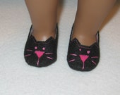American Girl Doll Size Black Kitty Cat Slippers Shoes