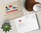 Bride + Groom Crab Save the Date Postcard