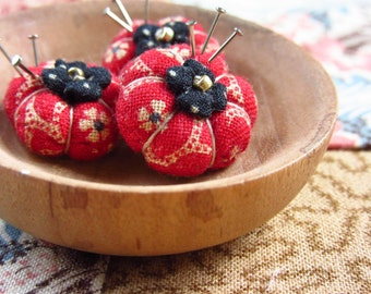 Miniature Pincushion -MADE for YOUR DOLL in Old Fashioned Red