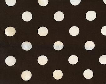Brown and white polka dot cotton fabric 1 yard