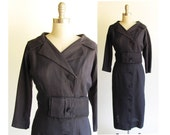 Navy Sheath Dress / Retro Vintage 1950s Dress / Tall Girl / Navy Dress Portrait Collar, Obi Sash  / 50s Dress / Medium 10 or 12