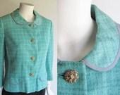 Davidow Designer Jacket / Turquoise Wool Tweed Vintage 60s French style Suit Jacket / Jackie O, Mad Men era  / Medium size 8 or 10