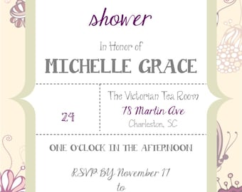 Personalized Elegant Butterfly Butterflies Bridal Wedding Shower Invitation DIY Digital You Print